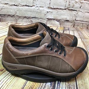 KEEN Womens Brown Leather Outdoor Sneakers 7.5